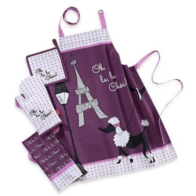 Garnier-Thiebaut Oh Lala Cheri! 4-Piece Kitchen Linens Set in Purple