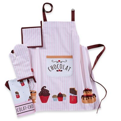 Garnier-Thiebaut Le Chocolat Chaud 4-Piece Kitchen Linens Set in Light Purple