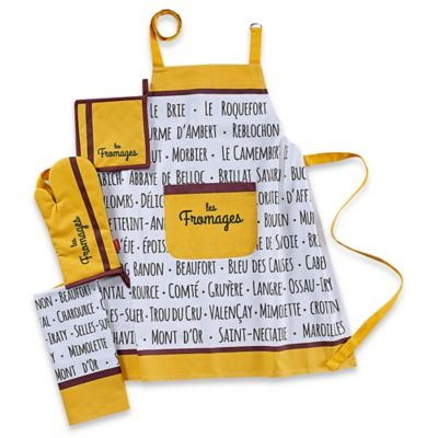 Garnier-Thiebaut Les Fromages Moutarde 4-Piece Kitchen Linens Set in Yellow