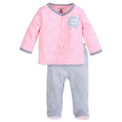 "Petit Lem™ Size 3M 2-Piece ""Super Sweet"" Long Sleeve Shirt and Footed Pant Set in Pink/Grey Stripe"