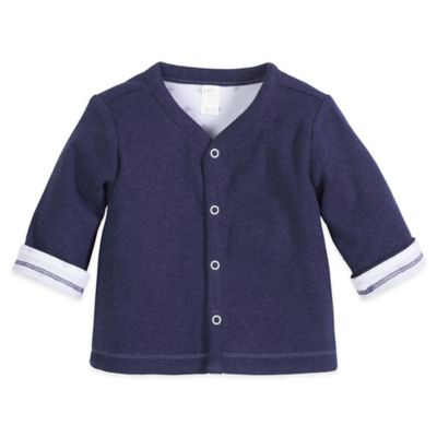 Petit Lem™ Newborn Reversible Cardigan in Navy/White
