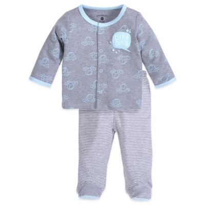 Petit Lem™ Newborn 2-Piece Car Long Sleeve Shirt and Footed Pant Set in Grey/Blue