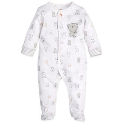 Petit Lem™ Newborn Bear Footie in Ivory/Grey/Brown