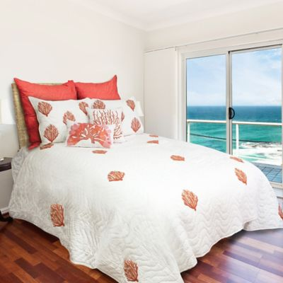 Oceana Embroidered Handmade King Quilt in White/Coral