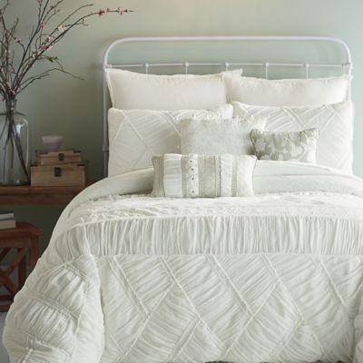Jessica Simpson Liliane Ruffle Weave Full/Queen Comforter Set in White