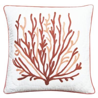 Oceana Embroidered Quilted Square Throw Pillow in White/Coral