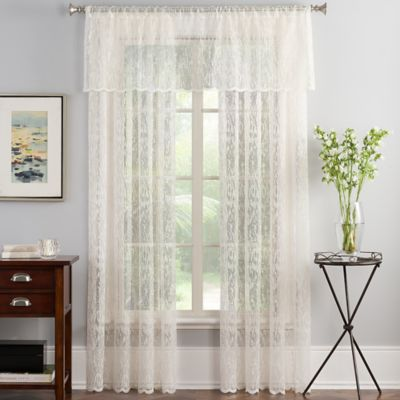 Abstract Lace 84-Inch Sheer Window Curtain Panel in Ivory