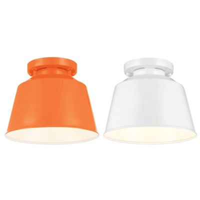 Feiss Freemont Flush-Mount 7-1/8 Inch Outdoor Lantern in Hi Gloss Orange