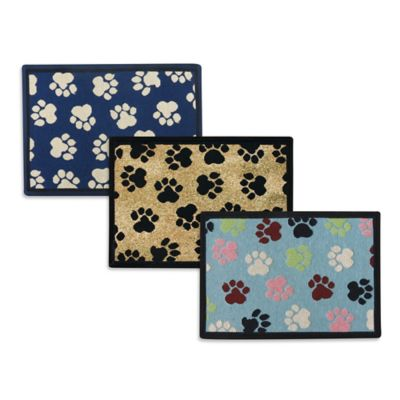 P.B. Paws by Park B. Smith World Paws 27-Inch x 19-Inch Tapestry Pet Mat in Black / Gold