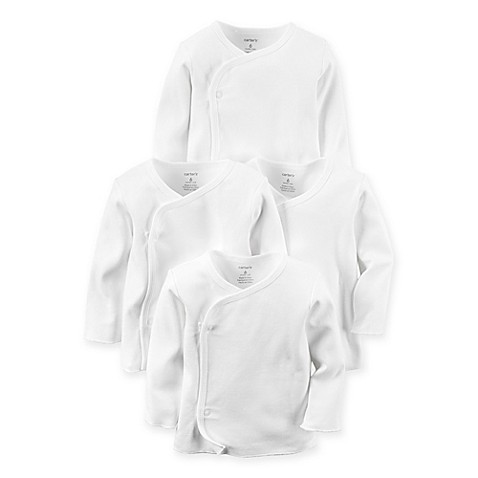 Carter S 174 Preemie 4 Pack Long Sleeve Side Snap T Shirts In