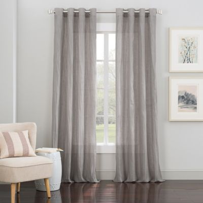 Milan Grommet Top 84-Inch Window Curtain Panel in Black