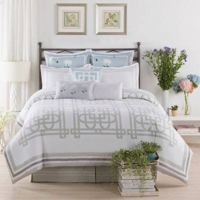 The New York Botanical Garden Garden Trellis Queen Comforter Set in White/Blue