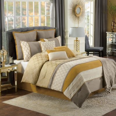 Nora 10-Piece Queen Comforter Set in Gold/Taupe