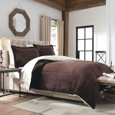 So-Soft™ Velvet/Berber Down 2-Piece Reversible Twin Comforter Set in Brown