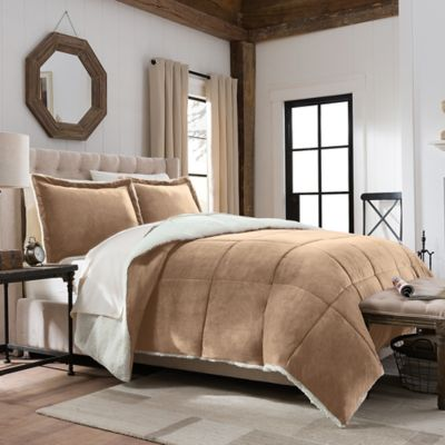 SoSoft™ Plush/Berber Down Alternative 3-Piece Reversible King Comforter Set in Tan
