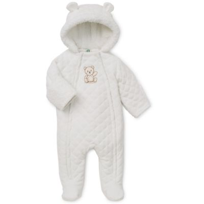Little Me® Size 3-6M Hooded Sherpa Bear Pram in Ivory