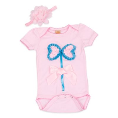 Mia Belle Baby Size 3M 2-Piece Butterfly Bodysuit and Headband Set in Pink/Turquoise