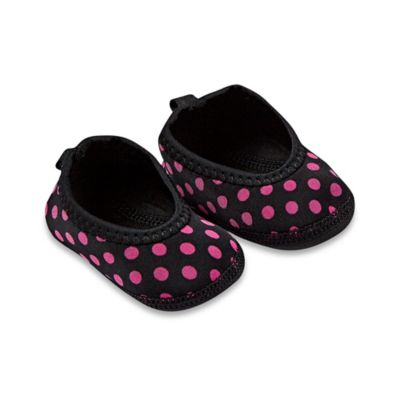 nufoot Always-On Size 0-6M Polka Dot Slipper in Black
