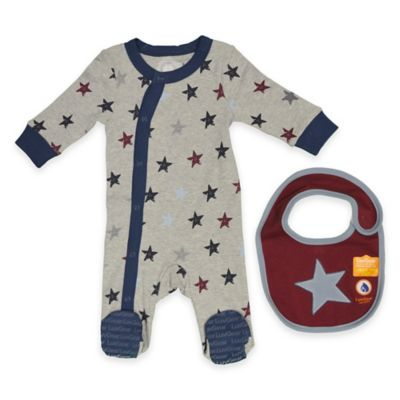 LuvGear™ Newborn TempAlert™ 2-Piece Star Footie and HotAlert™ Bib Set in Grey/Navy