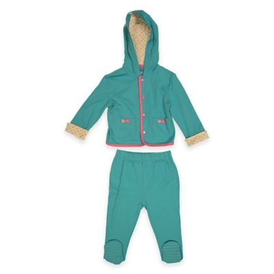 LuvGear™ Newborn 3-Piece Hoodie, TempAlert™ Bodysuit, and Pant Set in Turquoise