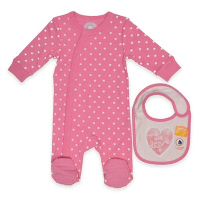 LuvGear™ Newborn 2-Piece Hearts TempAlert™ Footie and HotAlert™ Bib Set in Pink