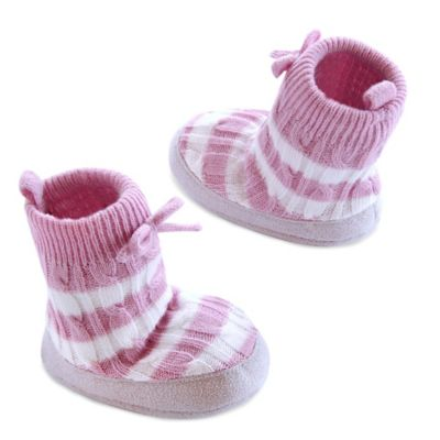 Carter's® Size 12-18M Stripe Cable Slipper Socks in Pink/White