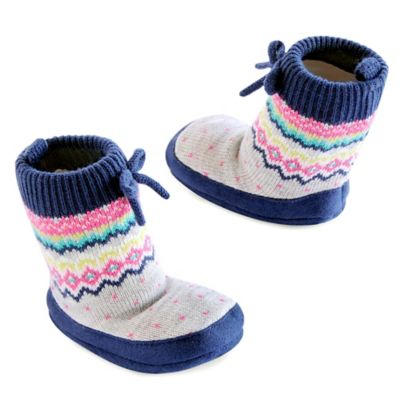 Carter's® Bright Fairisle Size 0-6M Cable Slipper Socks in Grey