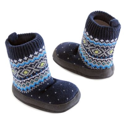 Carter's® Blue Fairisle Size 0-6M Cable Slipper Socks in Navy
