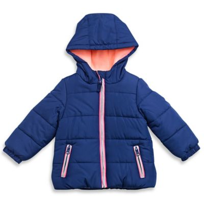 carter's® Size 12M Fleece-Lined Hooded Puffer Coat in Navy