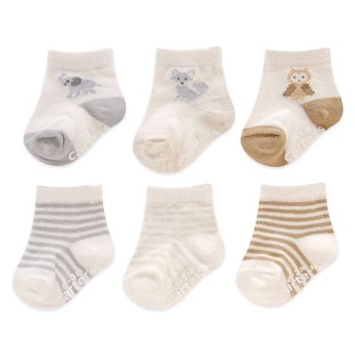 Carter's® Size 3-12M 6-Pack Neutral Animal Computer Socks