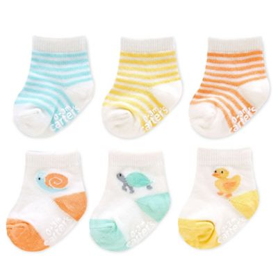 Carter's® Size 12-24M 6-Pack Neutral Animal and Stripe Computer Socks