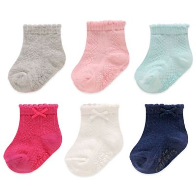 Carter's® Size 3-12M 6-Pack Pointelle Computer Socks