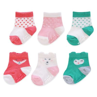 Carter's® Size 3-12M 6-Pack Character Face and Polka Dots Computer Socks