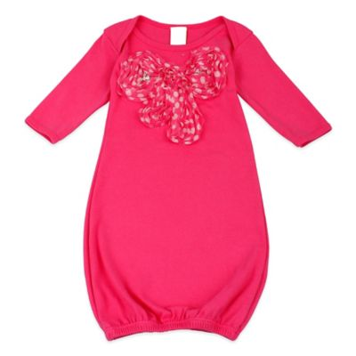 Mia Belle Baby Newborn Long Sleeve Gown with Polka Dot Bow in Hot Pink