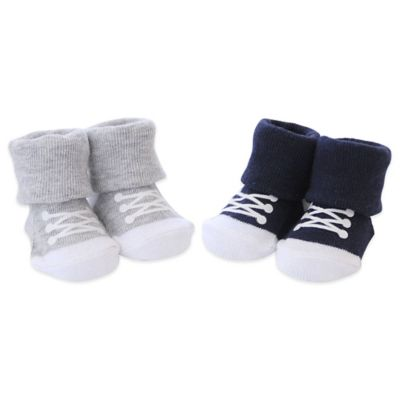 Carter's® Newborn 2-Pack Keepsakes Sneaker Booties in Navy/Grey