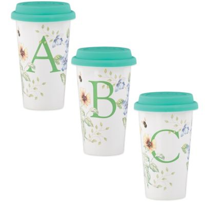 "Lenox® Butterfly Meadow® 12 oz. Monogrammed Letter ""R"" Travel Mug"