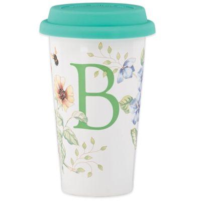 "Lenox® Butterfly Meadow® 12 oz. Monogrammed Letter ""B"" Travel Mug"