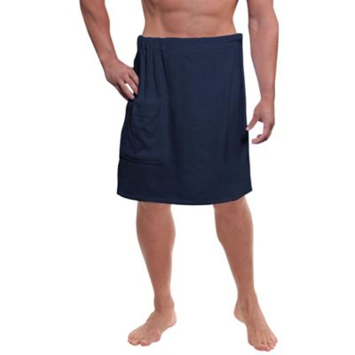 Men's Cotton Velour Shower Wrap in Navy