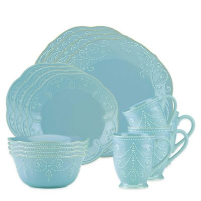 Lenox® French Perle 16-Piece Dinnerware Set in Robins Egg