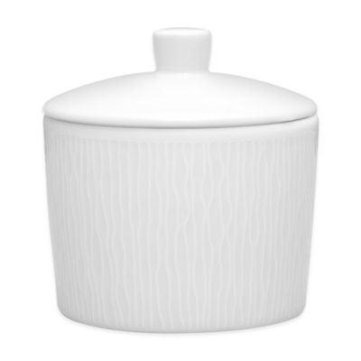 Noritake® White on White Swirl Covered Sugar Bowl