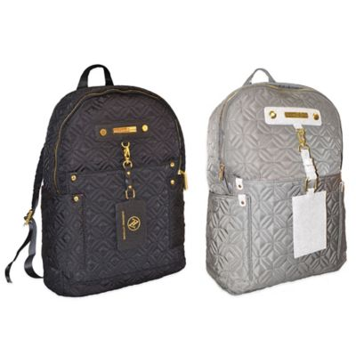 Adrienne Vittadini Quilt Nylon Backpack in Dark Clay