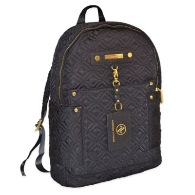 Adrienne Vittadini Quilted Nylon Backpack in Black