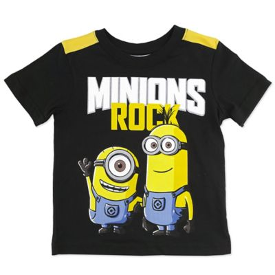 "Size 3T ""Minions Rock"" Short Sleeve Tee in Navy"