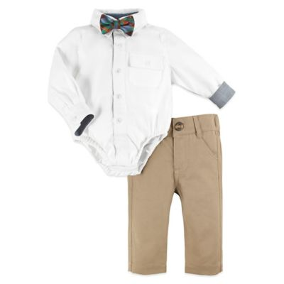 Beetle & Thread™ Size 12-18M Tailored Tot 3-Piece Shirtzie™, Pant, and Tie Set in White/Khaki
