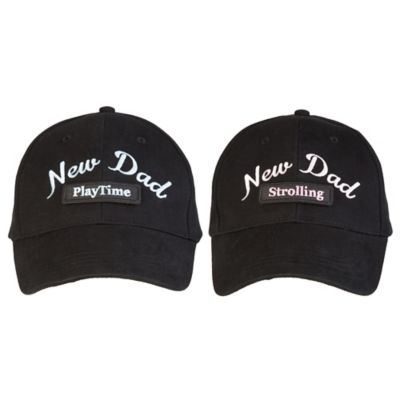 """New Dad"" 5-in-1 Baseball Cap in Pink/Black"