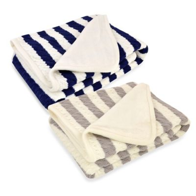 Just Born® Awning Stripe Cable Knit Blanket in Grey/White