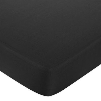 Sweet Jojo Designs Trellis Solid Fitted Crib Sheet in Black