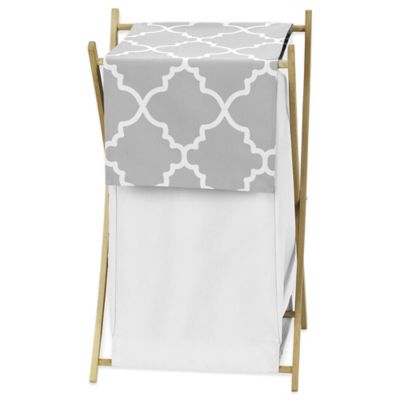 Sweet Jojo Designs Trellis Hamper in Grey/White