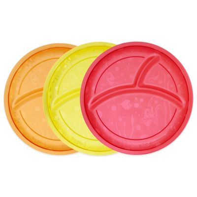 Munchkin® 3-Pack Divided Plates in Red/Yellow/Orange