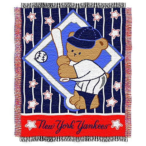 MLB New York Yankees Woven Jacquard Baby Blanket/Throw